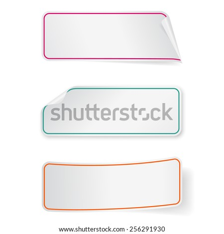Set of three vector long sticker labels. Isolated on white.  Design templates for infographics. - stock vector