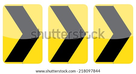 Set of three vector right chevron alignment signs isolated on white background - stock vector