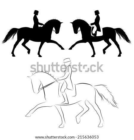 Set of three vector variations of dressage horse with rider doing extended trot
