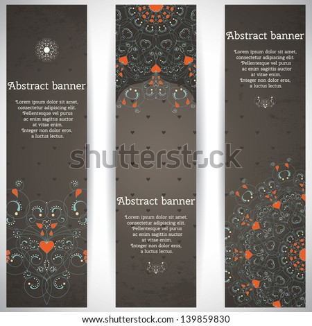 Set of three vertical banners. Abstract pattern with curls and hearts. Place for your text. - stock vector