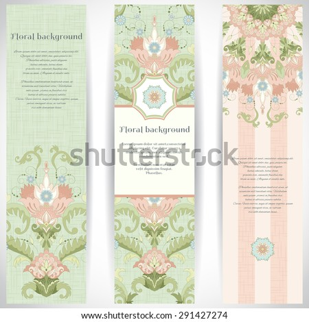 Set of three vertical banners. Beautiful floral pattern in vintage style and delicate canvas texture.Place for your text. - stock vector