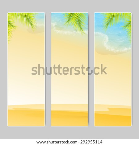 Set of three vertical banners. Tropic Island, sand beach and azure sea. Vector, EPS 10 - stock vector