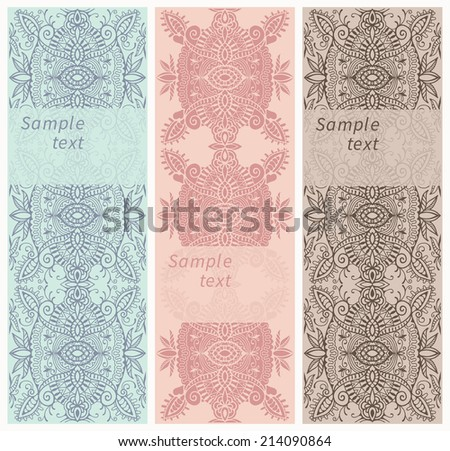 Set of three vertical floral banners or bookmarks. Abstract decorative ethnic ornamental backgrounds, border lace patterns set. Series of image template frame design for card, vector illustration - stock vector