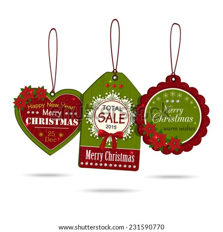 Set of three vintage christmas sale labels isolated on white background. Modern handmade / paper craft design. Vector illustration. - stock vector