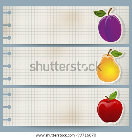 Set of three vintage fruit banners made of squared paper