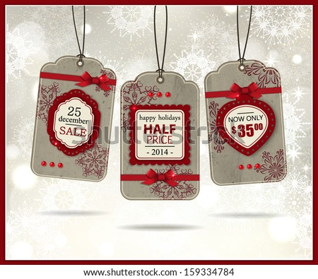 Set of three vintage paper christmas labels. Holiday background with  christmas sale labels, badges  and scrapbook elements. Modern handmade / paper craft design. Vector illustration.  - stock vector