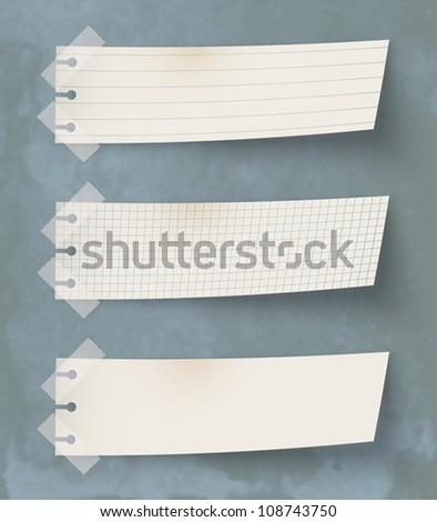 Set of three vintage paper's labels - stock vector