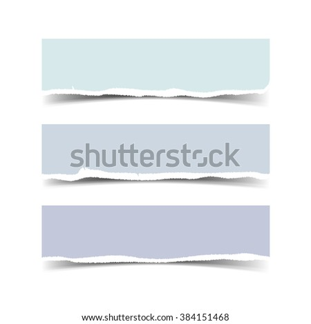 Set of three web banners with torn paper and space for your message. Vector torn paper with ripped edges for websites. Torrn paper with shadow - stock vector