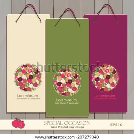 Set of three Wine Gift Bags on wood. Red, white & any wine or spirit present bag design. Circle decorative banner. Vector Editable. Seamless Pomegranate pattern is complete, masked. Fruit icon   - stock vector