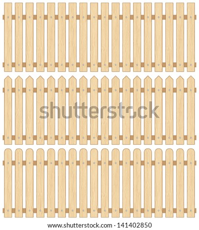 Set of Three Wooden Fences, Vector, Seamless