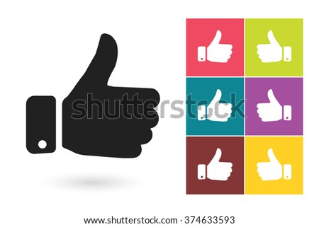 Set of thumb up icons, symbol for logo or label. Vector illustration