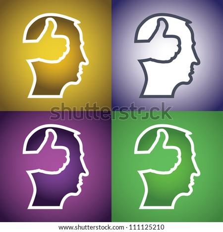 set of thumb up in head illustration - stock vector