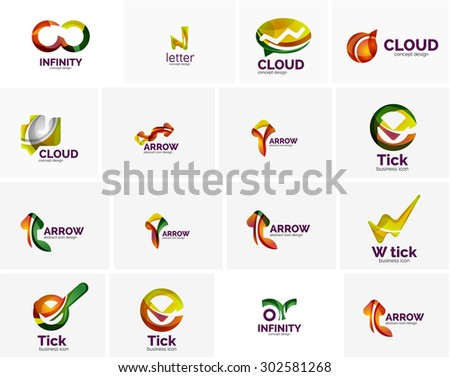 Set of tick ok, cloud or arrow concept icons. Created with swirls and flowing wavy elements. Business, app, web design logo template - stock vector
