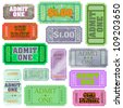 Set of ticket admit one. EPS 8 vector file included - stock photo