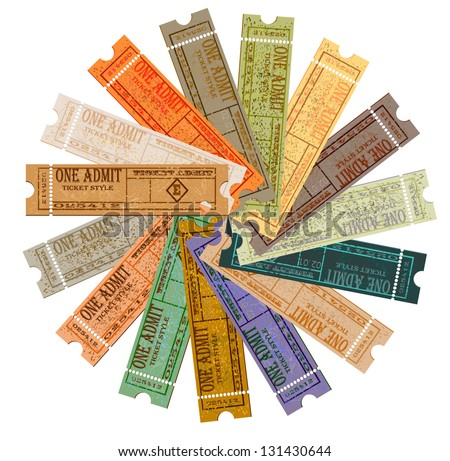 Set of tickets and a paper for the brochure. A vector illustration a template. EPS10 - stock vector