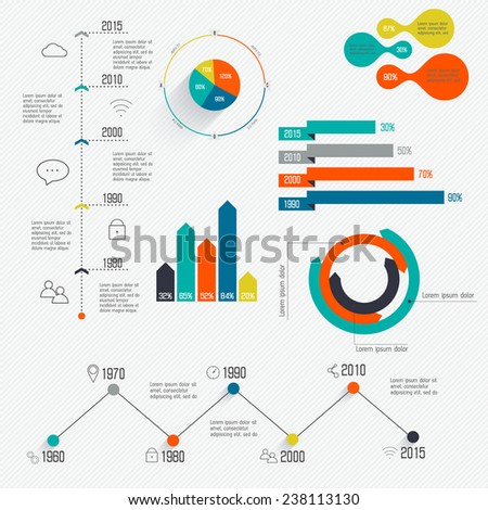 Set of Timeline Infographic Design Templates. Diagrams and Statistics Presentation. Vector illustration can be used for workflow layout, diagram, web design. - stock vector