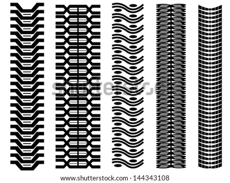 Set of tire tracks illustrated on white