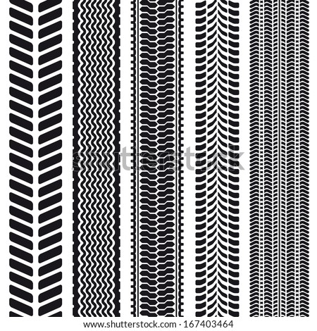 Set of 5 tire treads. Seamless texture. Vector illustration. - stock vector