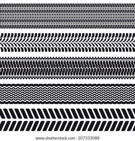 Set of 5 tire treads. Seamless texture. Vector illustration. - stock vector