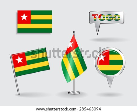 Set of Togolese pin, icon and map pointer flags. Vector illustration. - stock vector