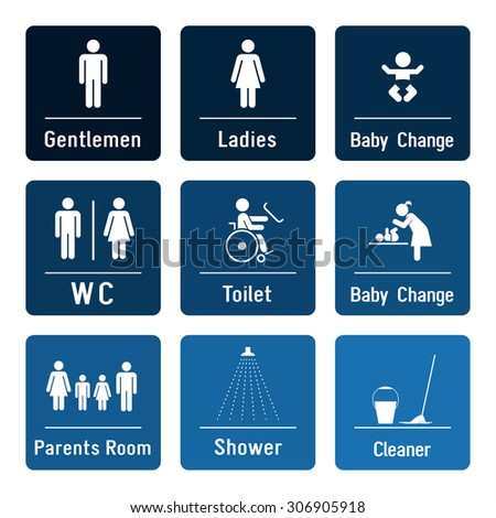 Set of toilette and bathroom signs. Collection of informational icons presenting toilette, bathroom and changing room. Set of informational signs. Men and women toilet pictogram.