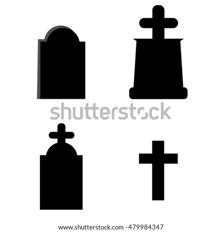 Set of tomb stone with cross icon in single color. Monument dead Halloween spooky