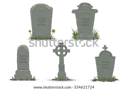 Set of Tombstones are made from stone and looking very old, vector - stock vector