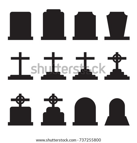 Set of tombstones with different forms. Collection of gravestones. Isolated on white. Vector illustration.