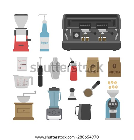 set of tool icons on white background, flat - stock vector