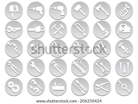 Set of tool icons. Vector illustration - stock vector