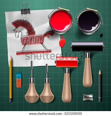 Set of  tools and supplies for engraving, vector illustration.  - stock vector
