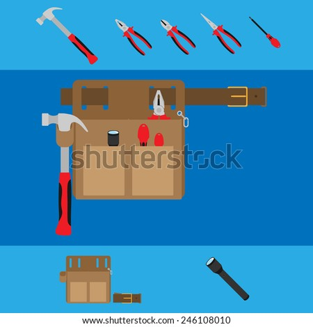 set of tools with bag - stock vector