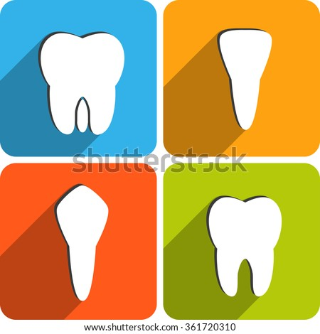Set of tooth types icons. Canine, pre-molar, molar, incisor. Dental vector illustration - stock vector