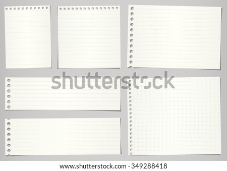 Set of torn notebook papers with lines and grid on gray background - stock vector