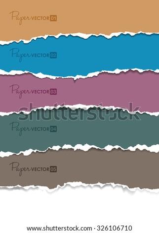 set of torn paper - stock vector