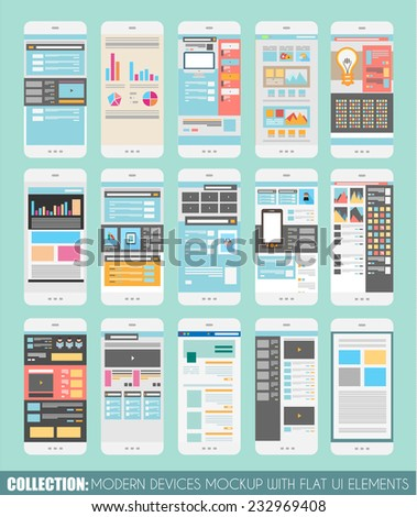 Set of Touch Screens mockup, Web Templates. Brochure Designs, Technology Backgrounds. Mobile Technologies, Infographic  ans statistic Concepts and Applications covers. - stock vector