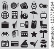 Set of tourism and recreation icons - part 1 - vector icons - stock vector