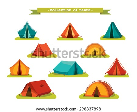 Set of tourist tents. Vector illustration - collection of camping tent icons. - stock vector