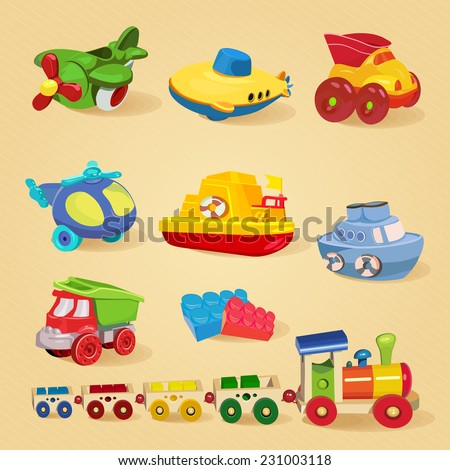 Set of toys with airplane, the submarine, truck, dump truck, helicopter, designer, train, car, ship, boat. - stock vector