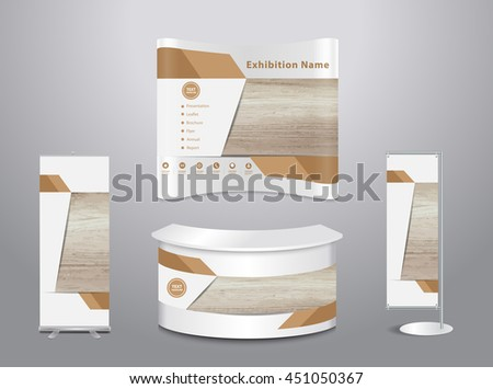 Set of trade exhibition stand with cover presentation abstract geometric background, With texture of wood background, vector illustration ( Image trace of wooden background )