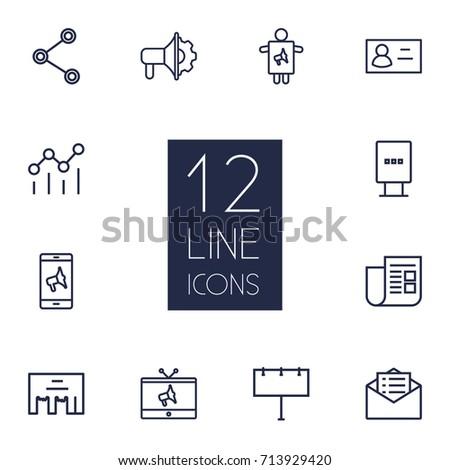 Set 12 Bureau Outline Icons Setcollection Stock Vector 655700812