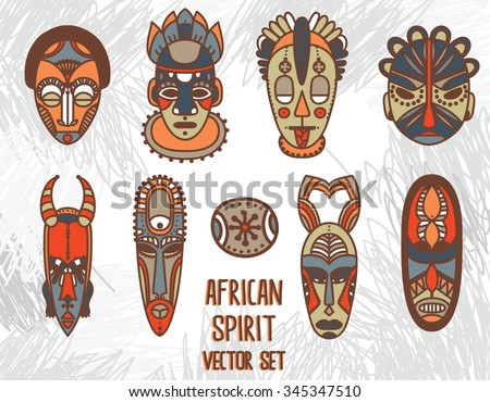 set of traditional african masks, vector illustration - stock vector