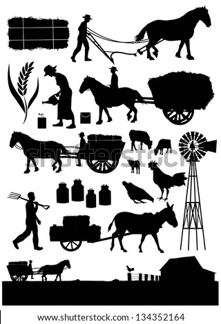 Set of traditional agriculture icon symbol, vector - stock vector