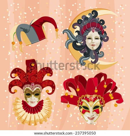 Set of traditional carnival mask on a colorful background with sparkles - stock vector
