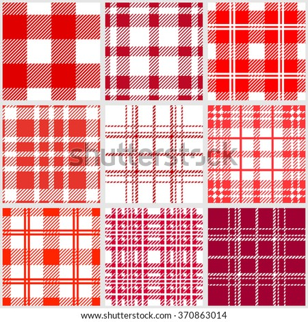 Set of traditional checkered seamless patterns. Plaids, tartans, shirt fabric, tablecloths. Retro textile collection. Red shadows palette. Backgrounds & textures shop. - stock vector