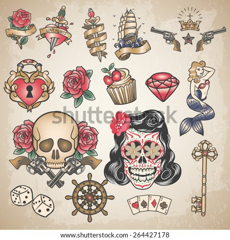 Set of traditional colored tattoos  - stock vector