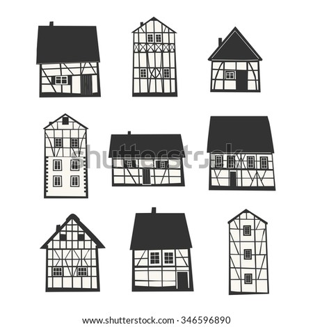 Set of  Traditional Half Timbered Houses. Vector illustration. - stock vector
