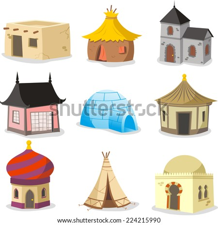 Set of traditional houses vector illustration.  - stock vector