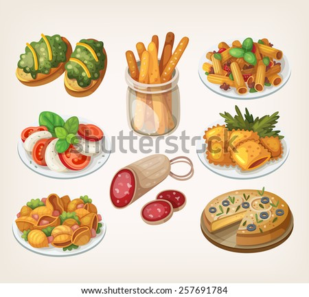 Set of traditional italian food products and elements of italian cuisine.