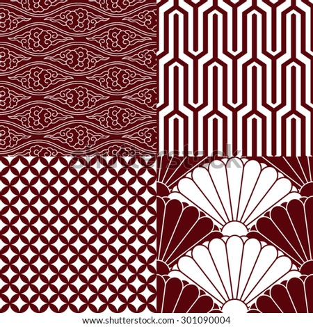 set traditional japanese patterns stock vector 301090004